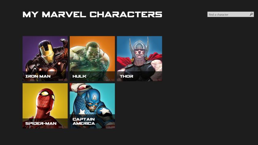 Página principal con mis personajes preferidos